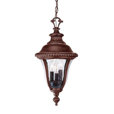 Windsor Collection Hanging Outdoor 3-Light Black Coral Light Fixture