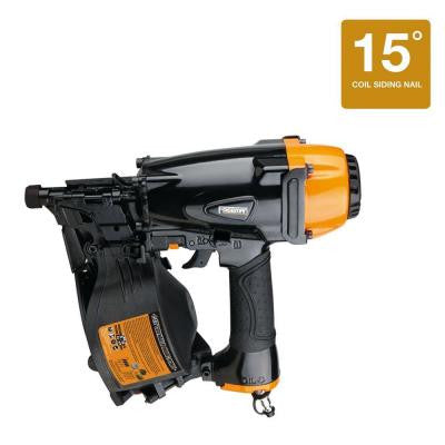 Pneumatic 1-1/4 in. x 2-1/2 in. 15° Coil Siding Nailer
