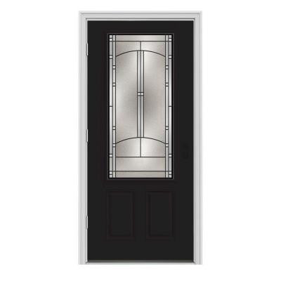 34 in. x 80 in. Idlewild 3/4 Lite Painted with White Interior Premium Steel Prehung Front Door with Brickmould