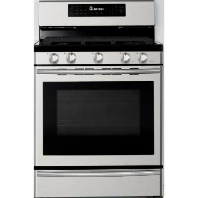 30 in. 5.8 cu. ft. Gas Range with Self-Cleaning and True Convection Oven in Stainless Steel