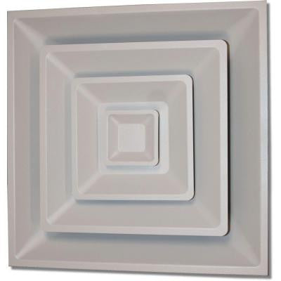 24 in. x 24 in. Drop Ceiling T-Bar 3 Cone Air Vent Register, White with 12 in. Collar