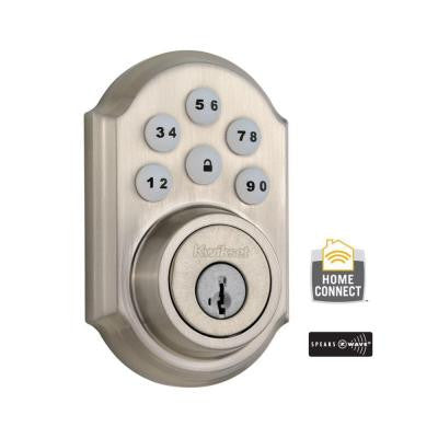 Z-Wave SmartCode Single Cylinder Satin Nickel Electronic Deadbolt with Home Connect Technology Featuring SmartKey