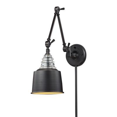 Insulator Glass 1-Light Oiled Bronze Swing Arm Light