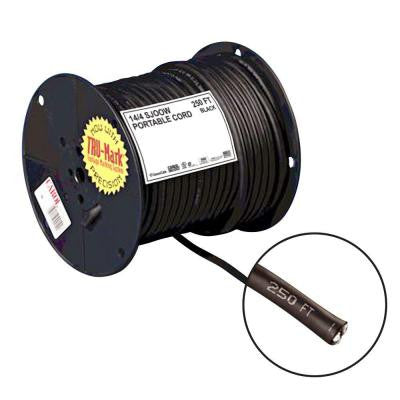 250 ft. 14-Gauge 4 Conductor Portable Power SJOOW Electrical Cord - Black