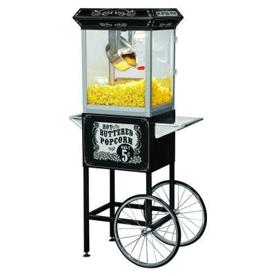 Full Size Carnival Style 8 oz. Stainless Steel Kettle Hot Oil Popcorn Machine with Cart in Black and Silver