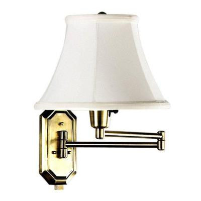1-Light Polished-Brass Swing-Arm Lamp