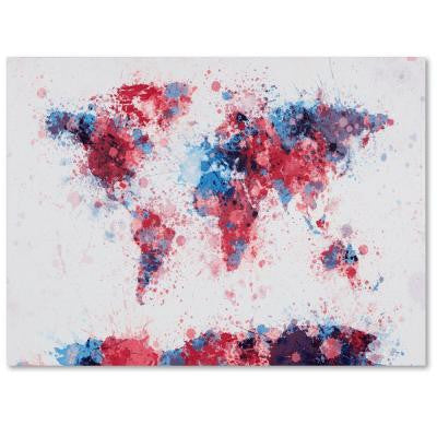 "30 in. x 47 in. ""Paint Splashes World Map"" Canvas Art"