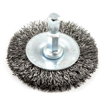 2 in. x 1/4 in. Hex Shank Coarse Crimped Wire Wheel Brush