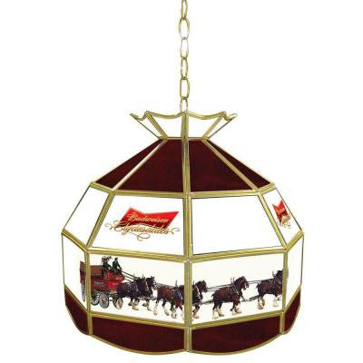 Budweiser Clydesdale 16 in. Gold Hanging Tiffany Style Billiard Lamp