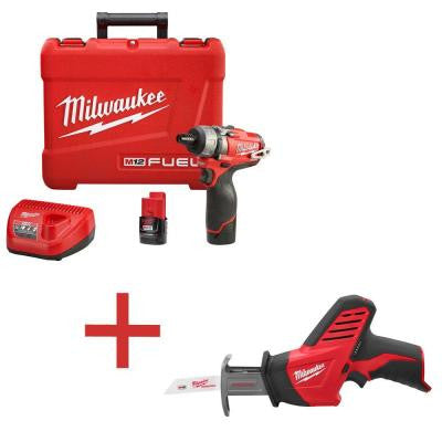 M12 FUEL 12-Volt Lithium-Ion 1/4 in. Hex Cordless Screwdriver Kit with M12 HACKZALL Reciprocating Saw (Tool-Only)