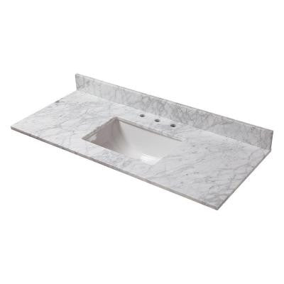 49 in. W Marble Vanity Top in Carrara with Trough Bowl