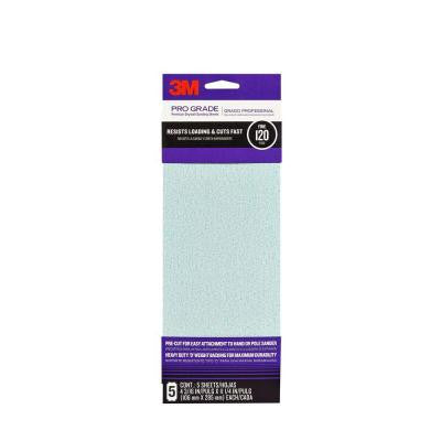 Pro Grade 4-3/16 in. x 11-1/4 in. 120-Grit Drywall Sanding Sheet (5-Pack)