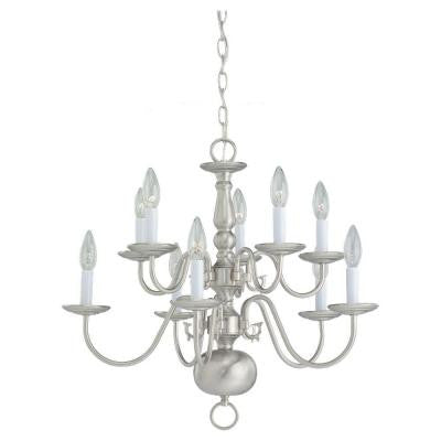 Traditional 10-Light Brushed Nickel Chandelier