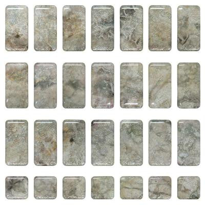 Jazz 1 in. x 2 in. Beige Multi-Colored High Gloss Murano Medley Self Adhesive Decorative Mirror Tile