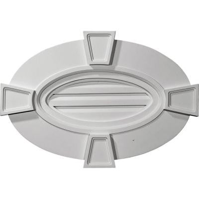 2-1/4 in. x 29 in. x 20 in. Functional Horizontal Oval Gable Vent with Keystones