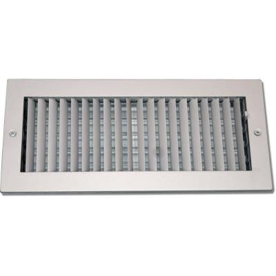 6 in. x 10 in. Steel Ceiling or Wall Register, White with Adjustable Single Deflection Diffuser