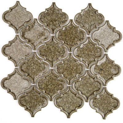 Roman Selection Iced Gold Lantern Glass Mosaic Tile - 3 in. x 6 in. Tile Sample