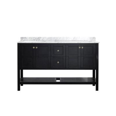 Florence 60 in. W x 22 in. D x 35 in. H Vanity in Espresso with Marble Vanity Top in White with Basin