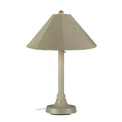 San Juan 34 in. Outdoor Bisque Table Lamp with Basil Linen Shade
