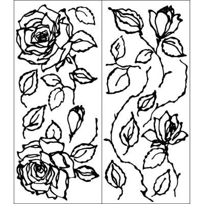 2 Sheets Black Rose Wall Art