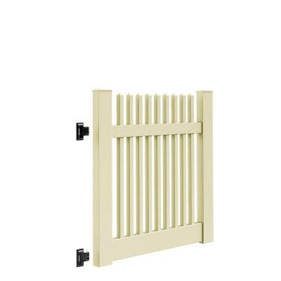 Yukon Straight 4 ft. x 4 ft. Sand Vinyl Un-Assembled Fence Gate
