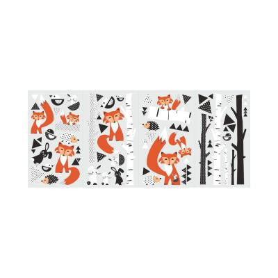 5 in. x 11.5 in. Fox Forest 60-Piece Peel and Stick Wall Decal