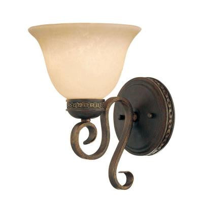 1-Light Bronze/Gold Sconce with Turinian Scavo Glass