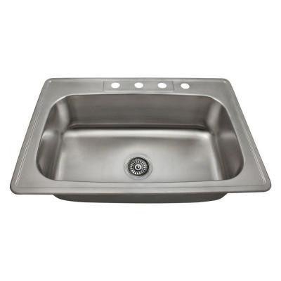 Topmount Stainless Steel 32-7/8 in. 4-Hole Single Bowl Kitchen Sink