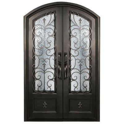 74 in. x 97.5 in. Orleans Classic 3/4 Lite Painted Oil Rubbed Bronze Wrought Iron Prehung Front Door