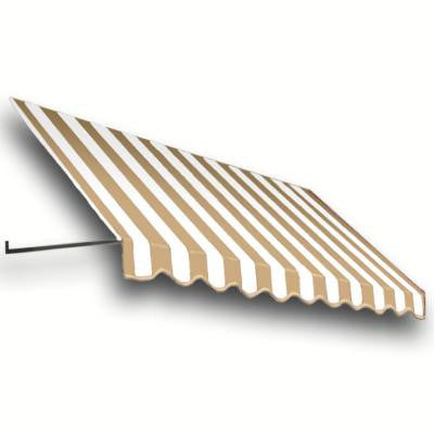 14 ft. Dallas Retro Window/Entry Awning (24 in. H x 48 in. D) in Linen/White Stripe