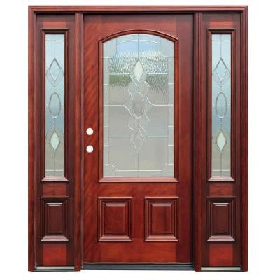 70 in. x 80 in. Strathmore Traditional 3/4 Arch Lite Stained Mahogany Wood Prehung Front Door with 14 in. Sidelites
