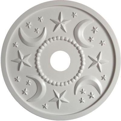 MRC Collection 18 in. x 18 in. x 1/2 in. Moon and Stars Lightweight Resin Primed White Ceiling Medallion