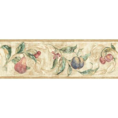 6.8 in. x 15 ft. Jewel Tone Fruit Scroll Border