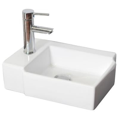 16.25-in. W x 12-in. D Above Counter Rectangle Vessel Sink In White Color For Single Hole Faucet