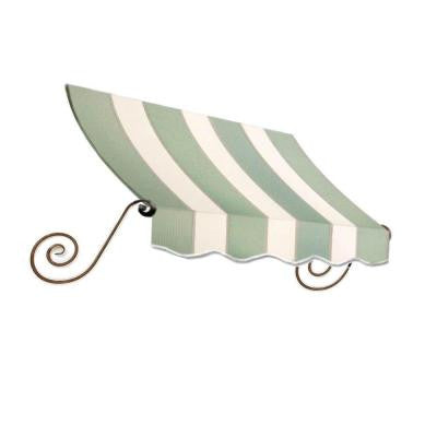 8 ft. Charleston Window Awning (56 in. H x 36 in. D) in Sage/Linen/Cream Stripe