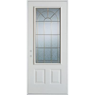 36 in. x 80 in. Geometric Zinc 3/4 Lite 2-Panel Prefinished White Right-Hand Inswing Steel Prehung Front Door
