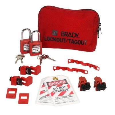 120/277 Volt Breaker Lockout Pouch With Safety Padlocks & Tags