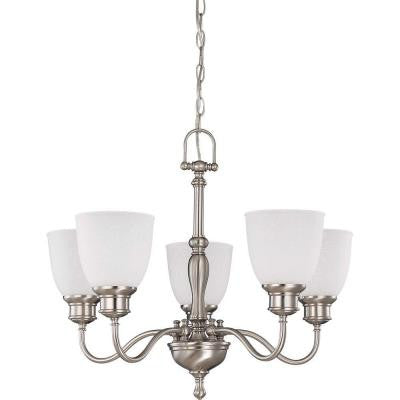 5-Light Brushed Nickel Arms Up Chandelier with Frosted Linen Glass Shade
