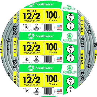 100 ft. 12-2 UF-B W/G Cable - Yellow