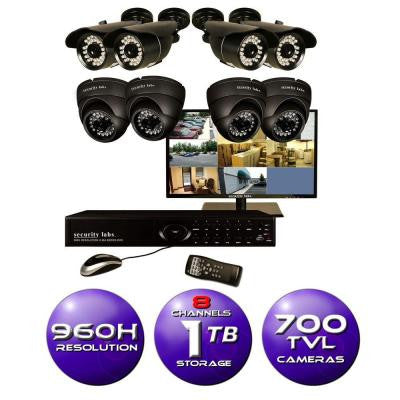 8-Channel 960H Surveillance System with 1TB HDD, (8) 700 TVL Cameras and 19 in. LED HD Monitor