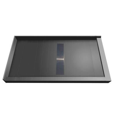 36 in. x 60 in. Double Threshold Shower Base with Center Drain and Solid Brushed Nickel Trench Grate