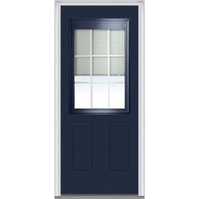 32 in. x 80 in. Classic Clear RLB GBG Low-E Glass 1/2-Lite 2-Panel Painted Majestic Steel Prehung Front Door