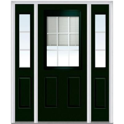 64 in. x 80 in. Classic Clear Low-E RLB Glass 1/2 Lite 2-Panel Painted Majestic Steel Prehung Front Door with Sidelites