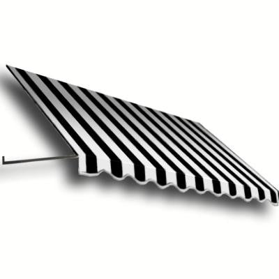 35 ft. Dallas Retro Window/Entry Awning (24 in. H x 48 in. D) in Black/White Stripe
