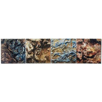 Brevium 12 in. x 50 in. Mother Earth Metal Wall Art (Set of 4)