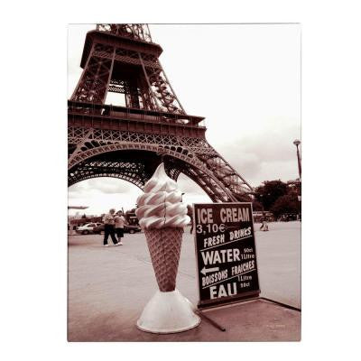47 in. x 30 in. Eiffel Tower with Ice Cream Cone 2 Canvas Art