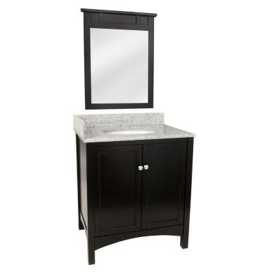 Haven 31 in. Vanity in Espresso with Granite Vanity Top in Rushmore Grey and 25 in. Mirror in Espresso