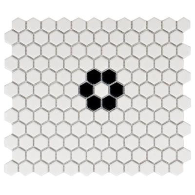 Metro Hex Matte White with Single Flower 10-1/4 in. x 11-3/4 in. Porcelain Mosaic Tile (8.54 sq. ft. / case)