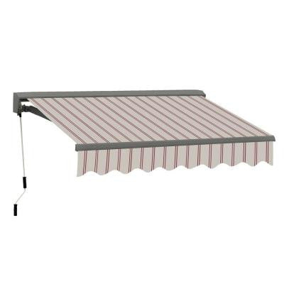 8 ft. Classic C Series Semi-Cassette Electric with Remote Retractable Patio Awning (79 in. Projection) Beige/Red Stripes