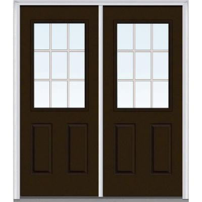 72 in. x 80 in. Classic Clear Glass GBG 1/2 Lite Painted Builder's Choice Steel Double Prehung Front Door